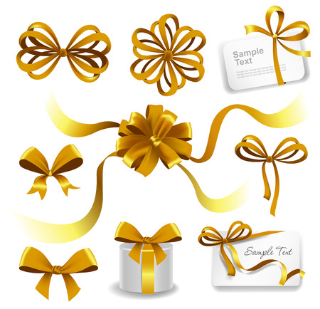 ribbons and bows: Set of gold gift bows with ribbons. Vector illustration. Illustration