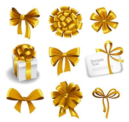 secret love: Set of gold gift bows with ribbons. Vector illustration. Illustration