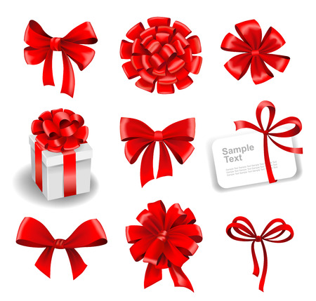 ribbons and bows: Set of red gift bows with ribbons. Vector illustration. Illustration