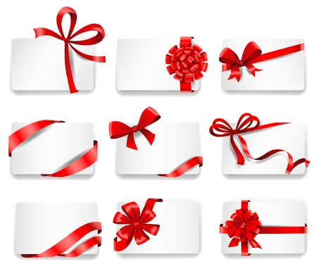 ribbons vector: Set of beautiful cards with red gift bows with ribbons. Vector illustration.