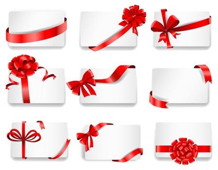 Set van mooie kaarten met rode gift bogen met linten. Vector illustratie.