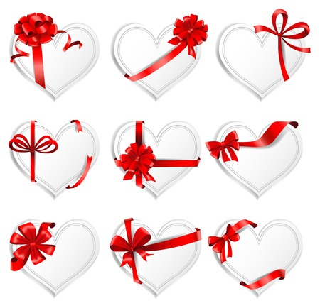 heartshaped: Set of beautiful heart-shaped cards with red gift bows with ribbons. Vector illustration. Illustration