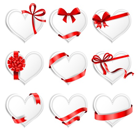 ribbons vector: Set of beautiful heart-shaped cards with red gift bows with ribbons. Vector illustration. Illustration