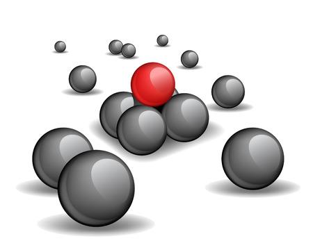 red sphere: Piramide top - una sfera rossa unica in un top piramide, immagine vettoriale Vettoriali