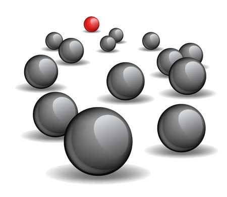 stranger: One red unique sphere lead crowd of black spheres