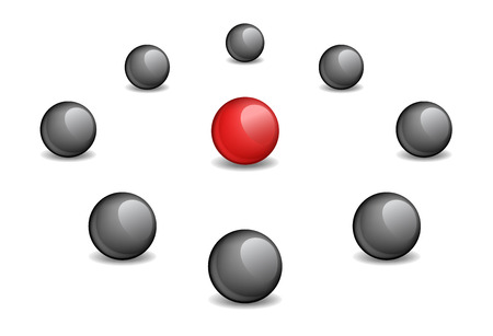 aberrant: Red sphere surrounded black, the vector image