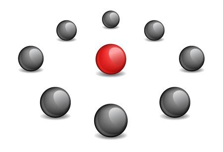 surrounded: Sfera rossa circondata nero, l'immagine di vettore