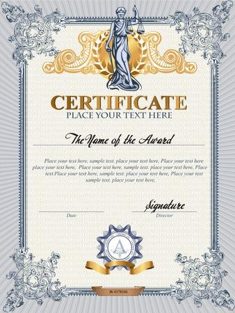 femida: Blue detailed vector certificate template with Femida.