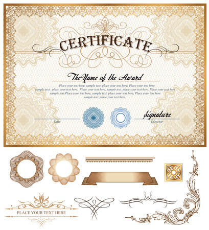 Vector illustratie van goud gedetailleerd certificaat met watermerken Stock Illustratie