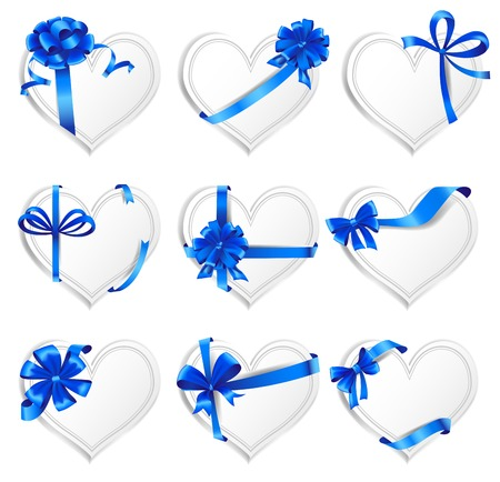 ribbons and bows: Set of beautiful heart-shaped cards with blue gift bows with ribbons. Vector illustration.