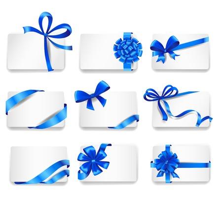 Set van mooie kaarten met blauwe geschenk strikken met linten. Vector illustratie. Stock Illustratie