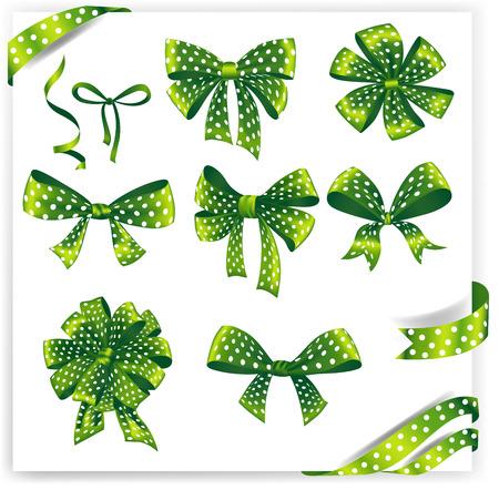 ribbons and bows: Set of green polka dot gift bows with ribbons. Vector illustration. Illustration