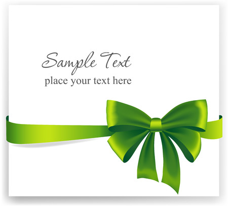 green ribbon: Greeting card with a green ribbon. Vector image Illustration