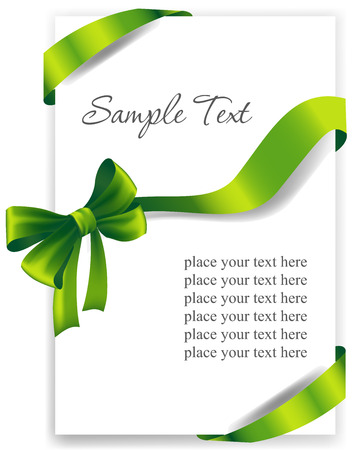 secret love: Greeting card with a green ribbon. Vector image Illustration