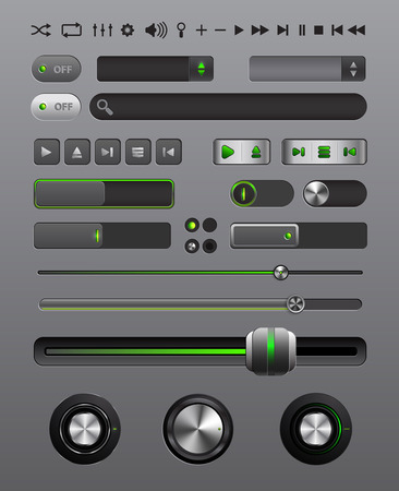 Set of buttons and icons for a musical player, vector illustration