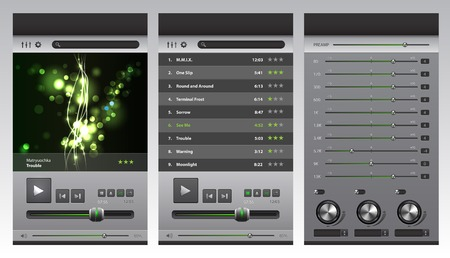 Design of the app and set of buttons and icons for a musical player Vector