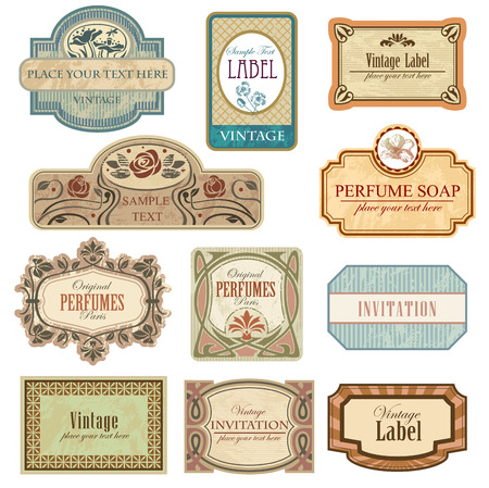 separately: Ornate vintage labels in style Art Nouveau. All elements separately.
