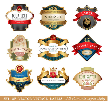 Ornate vintage luxury  labels. All elements separately.