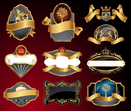 aristocratic: Set of vector labels with gold elements