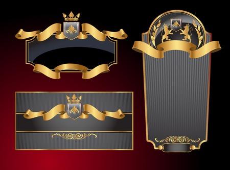 Black gold-framed set ot label, envelope and certificate. Vector illustration. All elements separately. Ilustrace