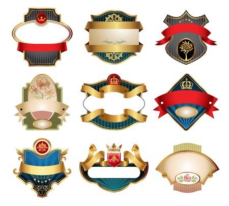 Sierlijke vintage luxe labels. Alle elementen afzonderlijk. Stock Illustratie