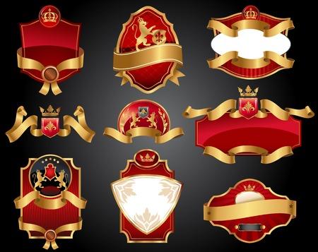 Set van vector labels met rode en gouden elementen