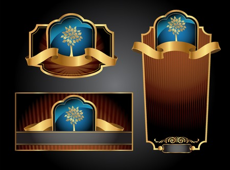 Brown and blue gold-framed set ot label, envelope and certificate. Vector illustration. All elements separately. Vector