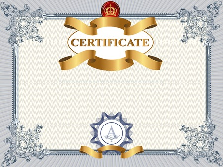 Certificate or coupon template with vintage border Çizim