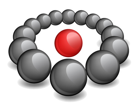aberrant: One red sphere is surrounded black, the conceptual vector image