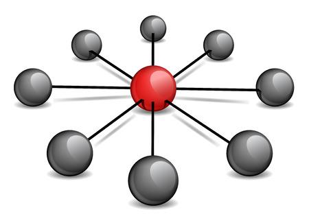 red sphere: L'illustrazione concettuale - una sfera rossa al centro collega quelli neri. Illustrazione vettoriale. Vettoriali