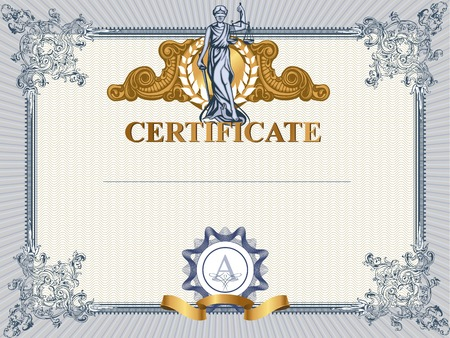 paper sculpture: Blue detailed vector certificate template with Femida.