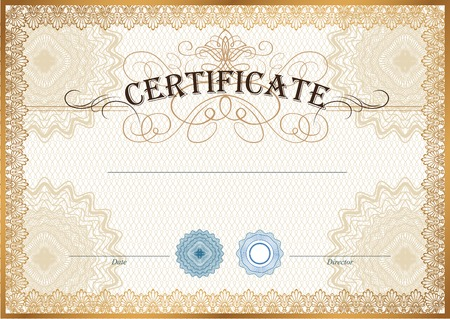 watermarks: Vector illustration of gold detailed certificate with watermarks
