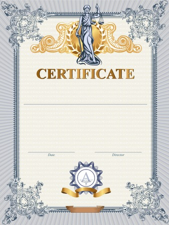 Blue detailed vector certificate template with Femida.