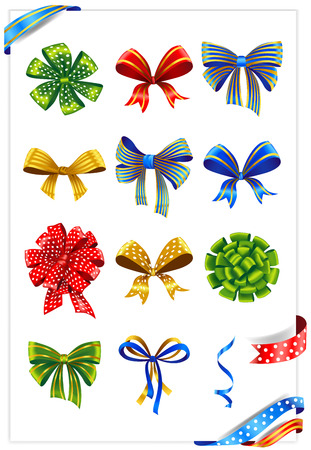 ribbons and bows: Set of gift bows with ribbons. Vector illustration.
