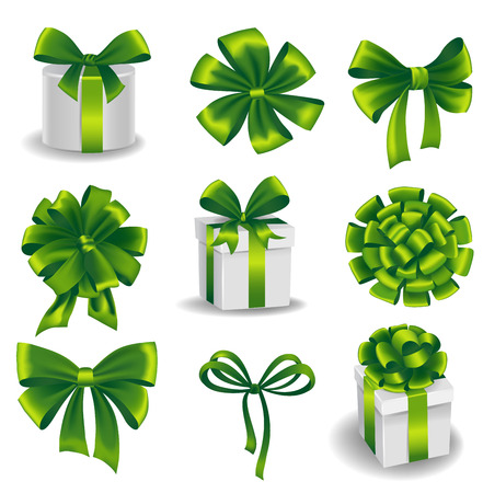 green bow: Set of green gift bows with ribbons. Vector illustration.