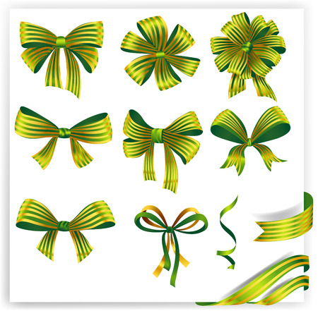 ribbons and bows: Set of green striped gift bows with ribbons. Vector illustration. Illustration