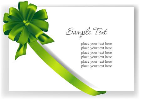 green ribbon: Greeting card with a green ribbon. Illustration