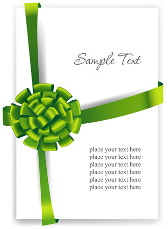 secret love: Greeting card with a green ribbon. Illustration