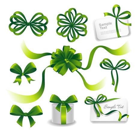 ribbons and bows: Set of green gift bows with ribbons. Vector illustration.