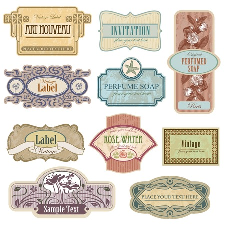 schoolbook: Ornate vintage labels in style Art Nouveau. All elements separately.