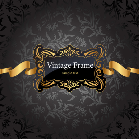 vintage gold frame: Vintage gold frame on black damask background. Vector illustration.