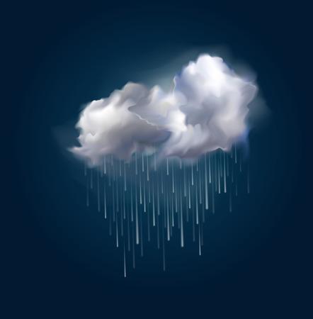 lluvia paraguas: Muy realista nube vector y la lluvia, posible cambiar el tamaño.