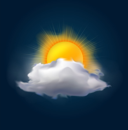 change size: Very realistic vector cloud with bright sun, possible to change the size.
