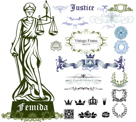 firms: Set of justice symbols, ornaments and illustration of Femida - goddess of justice.