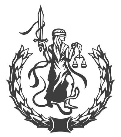 Femida - dame rechtvaardigheid, grafische vector illustratie