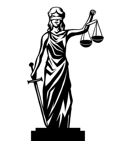 old lady: Femida - lady justice,  graphic vector illustration