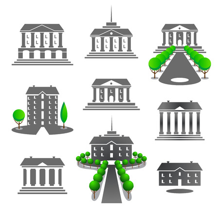 business buildings: Set of graphic business buildings for design of an emblems Illustration