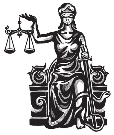 roman blind: Femida - lady justice  graphic illustration