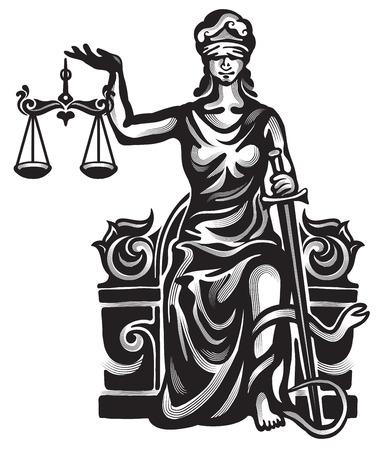 Femida - dame rechtvaardigheid grafische illustratie