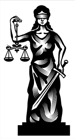 lawyer in court: Femida - lady justice,  graphic vector illustration